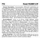 PYE PE2000T-LW Vintage Service Information  by download #92084