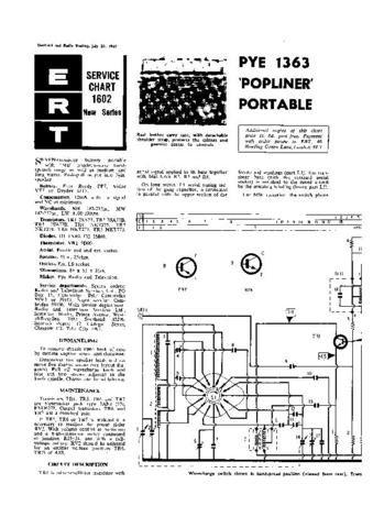 PYE POPLINER Vintage Service Information  by download #92095