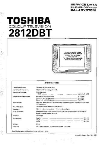 TOSHIBA 2812DB Service Manual by download #92269