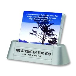 Satin Metal Scripture Card Holder - His Strength For You