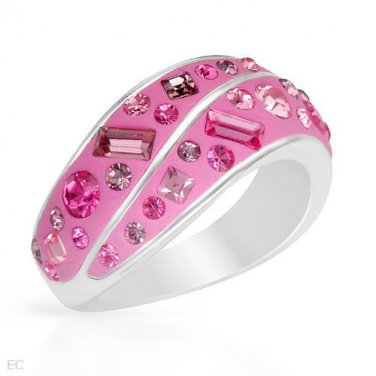 Brand New Ring With Genuine Crystals Crafted in Pink Enamel and 925 Sterling silver