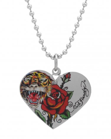 Ed Hardy Heart Tiger & Rose Necklace