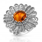 Made in Turkey Brand New Cocktail Ring With 1.30ctw Genuine Amber in Sterling silver