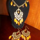 Vintage Tiger Eye Necklace & Earrings Set