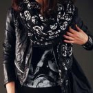 Trendy Black Scarf/Shawl with White Skulls