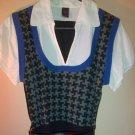 Plaid Sweater Vest & White Top Size XL