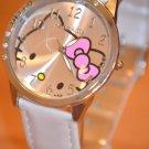 Fashion Big Dial Ladies HelloKitty Quartz Wristwatch White Band