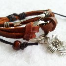 Flower Pendant Multi-Layered Leather Bracelet