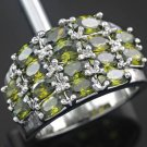 Sterling Silver Peridot Cluster Ring Size 7