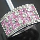 Pink Topaz & White Zircon Sterling Silver Ring