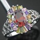 Garnet Amethyst Peridot and Citrine Cocktail Ring