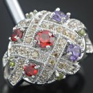Garnet Amethyst and Peridot Cluster Ring