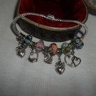 "European Style  Murano Glass Charm Bracelet 7.5"""
