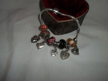 "Murano Glass European Style Charm Bracelet 7.5"""