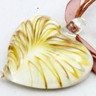 Yellow murano glass heartshaped pendant & necklace