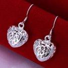 Silver filigree heart shaped drop earrings