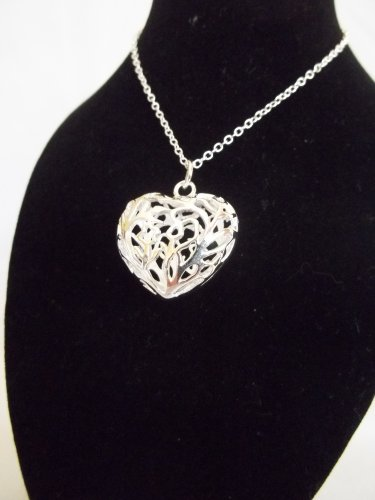 Silver Filigree Puff Heart 3-D Pendant with Silver Necklace 18''