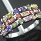 Multi-Color Channel Set Baguette & Round Gemstone Silver Ring