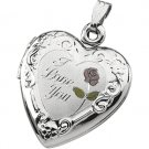 Sterling Silver Tri Color I Love You Heart Locket
