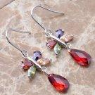 Multicolor butterfly drop earrings in silver setting