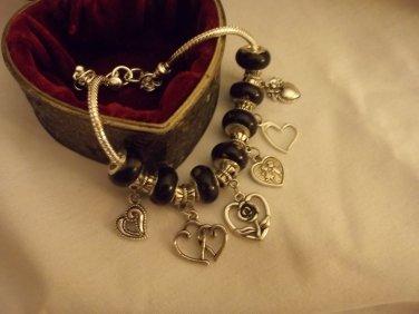 "Classic Look Black Beads  Murano Glass  European Charm Bracelet 9"""