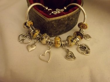Gorgeous  European  Murano Glass Charm Bracelet 9""