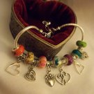 Beautiful  Murano Glass European Charm Bracelet 9""