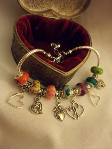"Beautiful  Murano Glass European Charm Bracelet 9"""