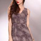 Leopard  Print V Neck Open Back  Dress Size L