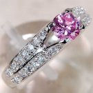 Pink Sapphire & White Topaz Ring in Sterling Silver