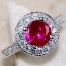Art Deco Ruby & White Topaz Ring Size 8