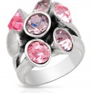 Pilgrim Skanderborg Ring with Pink Crystals Size 7.5
