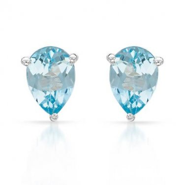 Pear shaped topaz Earrings Set in Sterling Silver