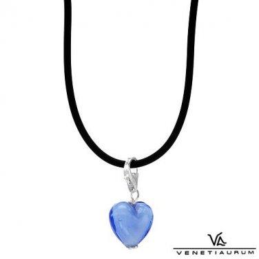 Murano Glass Heart Pendant & Black Viscose Necklace