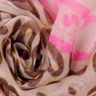 Silky Beige & Pink Animal Print Scarf