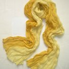 Two Toned Crinkle Scarf - Yellow and Off White Shades