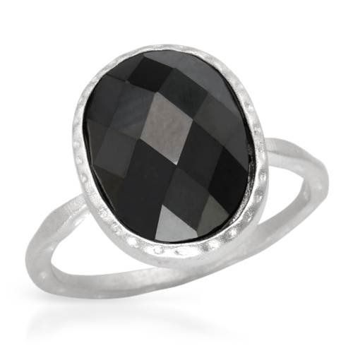 sterling silver black checkerboard and white cz ring