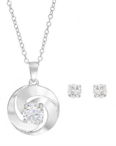Diamond Necklace & Earrings Set in Sterling Silver