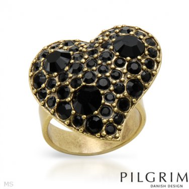 Heart Ring With Genuine Black Crystals