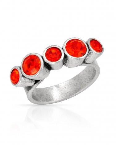 Pilgrim Skanderborg Denmark Ring with Genuine Orange Crystals