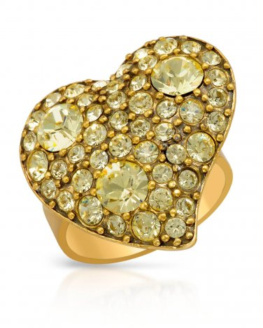 Heart Shaped Ring With Genuine Yellow Crystals
