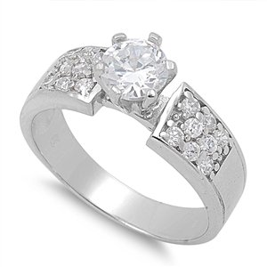 Round Brilliant Ladies' Solitaire Ring in Sterling Silver
