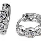 3 Stone Bezel Set CZ Diamond Huggie Hoop Earring