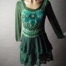 Green Folk Gypsy Crochet Tiered Ruffle Lace Skirt Dress Size L