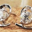 Silver Curved Heart Stud Earrings
