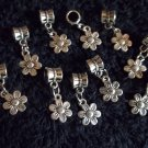 5 Pc. Set of Silver Dangling Flower Charms