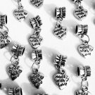 8 Pc. Set of Hanging Silver Heart Charms