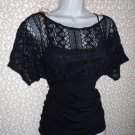 Sexy Ruched Waist Short Sleeve Black Knit Lace Top Size M