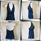 Blue Sun Burst/Flower Print Halter Top Size  M