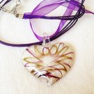 Murano glass heart pendant & necklace in brown and purple tones